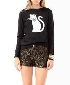 Cat print sweater. Cute with a pleated skirt, polka dot skinnies, or sequin shorts...