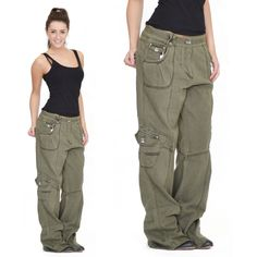 Womens Army Green Baggy Loose Cargo Pants Wide Boyfriend Combat Trousers Jeans #Unbranded #Cargos