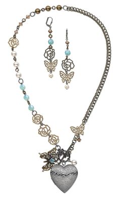 Single-Strand Necklace and Earring Set with Swarovski Crystal Beads and Pearls, Brass-Colored Charms and Focals and Chain