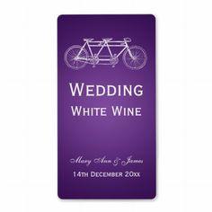 Elegant Wedding Wine Label Tandem Bike Purple