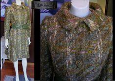 UNIQUE 1960s LILLI ANN Princess Coat Wool Tweed Boucle Large Belt Very Rare Design   by WestCoastVintageRSL, $174.00
