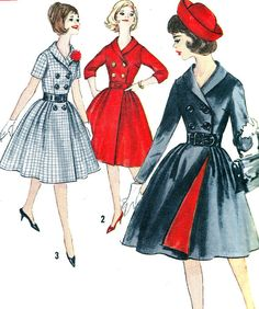 OOoh love the double breasted jacket! The peek of red is AMazing!    1950s Dress Pattern Simplicity 4591 Full Skirt by paneenjerez,