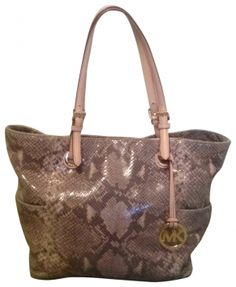 Michael By Michael Kors Taupe Snakeskin Tote Bag $113