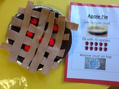 pie pretend play activity ~ I see an opportunity for weaving here.Apple pie pretend play activity ~ I see an opportunity for weaving here. Preschool Apple Theme, Apple Activities, Preschool Centers, Fall Preschool, Autumn Activities, Preschool Learning, In Kindergarten, Preschool Activities, Teaching
