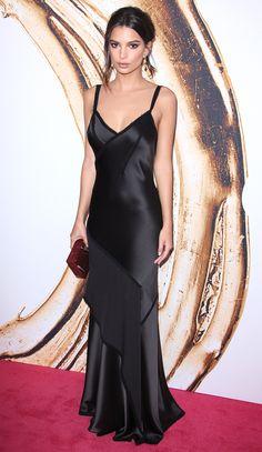 6ea338dbb22 CFDA Fashion Awards 2016  Emily Ratajwoski is wearing a black Jason Wu bias  cut slip