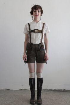 German hipsters?! Vintage lederhosen, harness, suede shorts. Made in Germany.