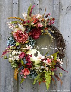 Fall Wreath, Elegant Fall Floral, Autumn Wreath, Country French Wreath, Fall Luxury Wreath, Fall Victorian Wreath, Designer Pumpkin Wreath Autumn Victorian Garden Wreath. A stunning gathering of gorgeous garden favorites in Victorian hues of deep rose, blush pink, teal, salmon, cranberry, sage green, avocado, ivory and antique gold are featured in this timeless classic. An abundance of Hydrangeas, Roses, Peonies, and wildflowers are featured among lush Boston Ferns, meadow grass and softly…