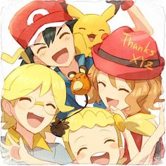 Ash, Pikachu, Clemont, Serena, and Bonnie from XYZ