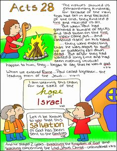 Doodle Through The Bible: Acts 28  Free coloring page and PNG elements available at the website :)