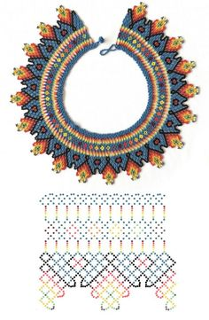 Beaded beads tutorials and patterns, beaded jewelry patterns, wzory bizuterii koralikowej, bizuteria z koralikow - wzory i tutoriale Diy Necklace Patterns, Beaded Jewelry Patterns, Beading Patterns, Beaded Crafts, Bead Jewellery, Beading Tutorials, Loom Beading, Bead Art, Bead Weaving
