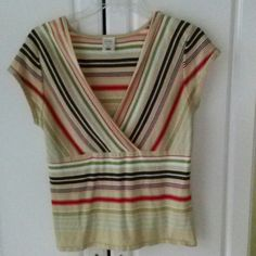 Short sleeve sweater. BUNDLE 2 ITEMS GET 10% OFF Low v neck with a base color of beige and multiple stripes of colors. Dark brown, lime green, coral, light blue and red. This top will go with jeans, shorts, skirts & trousers. DON'T 4 GET 2 BUNDLE!!!! ANY 2 ITEMS 10% OFF Old Navy Tops