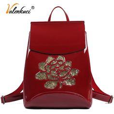 Floral Patent Leather Backpack Ladies Women School Backpack Shoulder Bag Fashion Vintage Backpacks For Teenage Girls Bags Black Vintage Backpacks, Shoulder Strap, Shoulder Bags, Leather Pattern, School Backpacks, Online Shopping Clothes, School Bags, Shoe Brands, Fashion Handbags