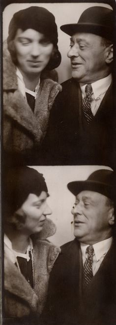 Arnold Schoenberg in a photo booth with his second wife Gertrud.