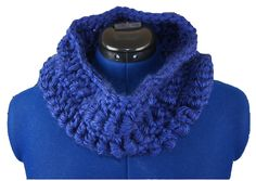 Royal blue cowl made with bullion stitch