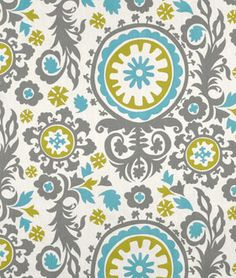 Premier Prints Suzani Summerland Natural Fabric-hmmmm...this combo could steer me away from the yellow