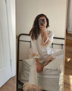 Party Pajama Set with Feathers in White Cute Sleepwear, Cotton Sleepwear, Copenhagen Street Style, Oeko Tex 100, Ladies Party, Outfit Sets, Nightwear, Timeless Fashion, Night Gown