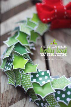Free Printable Holly Leaf Wreath at Kiki and Company