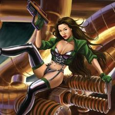Aiko Tanaka inspired sexy heroine is seated among steampunk pipes in background