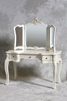 Furniture, French Style Antique And Vintage Makeup Vanity Table With 3 Folding Mirror Set And 3 Drawer Painted With White Color Plus Carving Wooden Legs Ideas ~ Mirrored Vanity Table