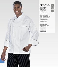 Chef jacket with cross over chest design. Black piping detail on collar and cuffs. Black and white stud button options included. Chef Coats, French Cuff, Egyptian Cotton, Collar And Cuff, Work Wear, Catering, Chef Jackets, Cuffs, Pocket