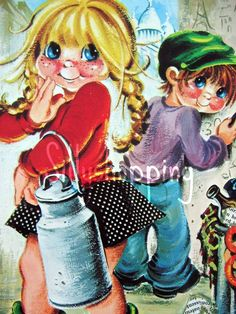 Vintage 70s Bigeyed Girl Postcard Escarra door SillyshoppingVintage op Etsy