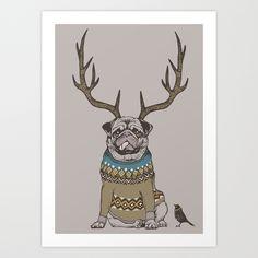Deer Pug Framed Mini Art Print by Huebucket - Light Wood - x Cheap Wall Decor, Pug Art, Pug Life, Plant Holders, Art Blog, Pugs, Deer, Moose Art, Art Pieces