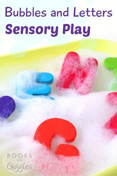 How to set up sensory play with bubbles and foam letters - a fun way to motivate preschoolers to learn their letters.: