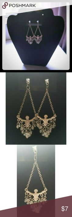 Guess Chandelier Earrings Chandelier Earrings, Silver-tone, Clear, Iridescent, Dangly, Crystal Beads. Jewelry Earrings
