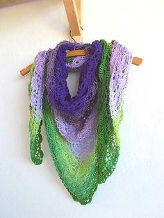 Dúhová fialovo-zelená háčkovaná šatka, croceht,rainbow, forest green, lime, levander, purple, dark purple, triangle shawl, scarf, multicolor,