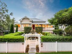 6 bedroom house for sale at 35 Marlborough Street, Sherwood QLD Gate House, Facade House, House Exteriors, Facade Design, House Design, Fence Design, Front Gates, Front Fence, Front Entry