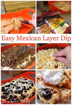 7 layer dip: Easy Mexican Layer hot Cheese Dip that is super addicting!!!