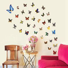 3.61$  Buy now - http://di3rz.justgood.pw/go.php?t=122563101 - Colorful Butterfly Style Wall Sticker Home Appliances Decor Wall Decals