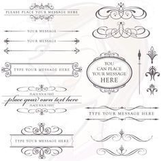 Calligraphy Vintage Clip Art Clipart CHARCOAL GREY DIY Wedding Invitation Scrapbooking Embellishment Text Dividers Oval Digital Frame 10152. $6.50, via Etsy.