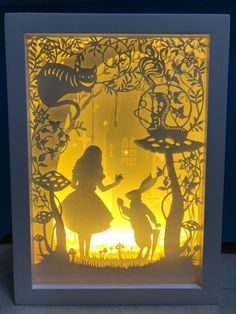 Alice in Wonderland Paper Cutting Light Box Night Light Accent Lamp Wedding Birthday Gift Idea Shadow Box Baby Nursery Girl Room Decoration Shadow Box Baby, Diy Shadow Box, 3d Paper Art, Diy Paper, Paper Gifts, Origami Design, Shadow Box Kunst, Licht Box, Papier Diy