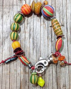 Eartha Bohemian Whimsy Bracelet with super-swivel silver clasp and Javanese glass beads