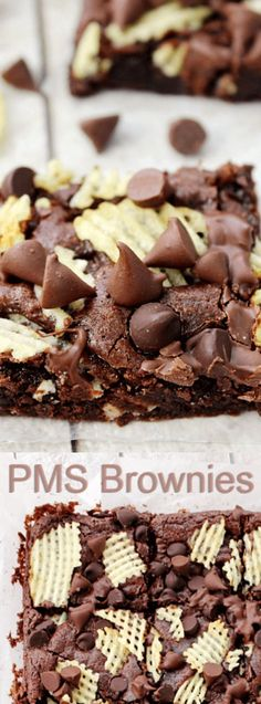 These PMS Brownies from Love Bakes Good Cakes are what brownie dreams are made of. These delicious brownies have two of your favorite things — a whole lot of chocolate and a little bit of a salty crunch. by nicole Quick Easy Desserts, Just Desserts, Delicious Desserts, Yummy Food, Delicious Chocolate, Baking Recipes, Cookie Recipes, Dessert Recipes, Baking Hacks
