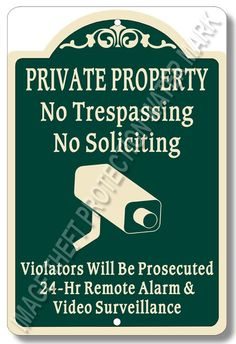"""Private Property No Trespassing No Soliciting Video Surveillance Sign 8""""x12"""" New…"""