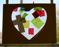 Boaz & Ruth craft we made loving heart suncatcher. prep was pretty straightforward, i cut a heart shape outside of a piece of construction ...