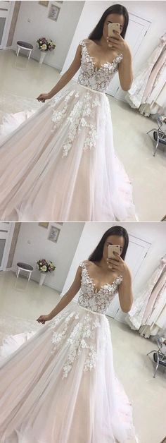 A-line See-through White Lace Appliqued Wedding Dresses with Train M1831#prom #promdress #promdresses #longpromdress #2018newfashion #newstyle #promgown #promgowns #formaldress #eveningdress #eveninggown #2019newpromdress #partydress #meetbeauty #aline #seethrough #white #lace #weddingdress