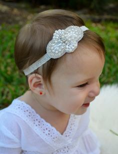 Newborn Baby Toddler Girl White Pearls and Lace Baptism Christening Holiday Headband via Etsy
