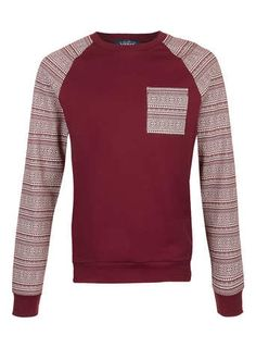 Burgundy Aztec Raglan Sleeve Printed Sweatshirt - Men's Hoodies & Sweatshirts  - Clothing