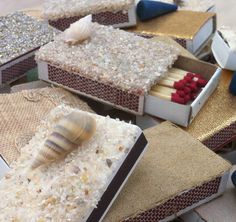 10 Beach Theme matchboxes  Party Favors  Wedding by ArtZodiac, $10.00