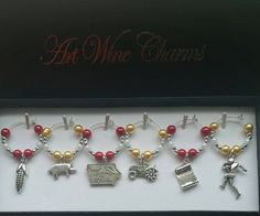 6 Iowa State themed Wine Charms, Iowa, Wine Charms, Themed Party, Party Favors, Thank You, Gift, Corn, Pigs, Iowa State University, Football by PickinsGalore on Etsy