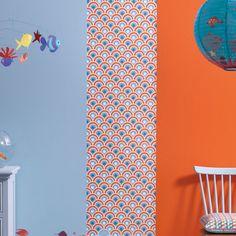 Lé de papier peint décoratif intissé écume poisson orange/bleu 48x280cm MARIN Little Big Room