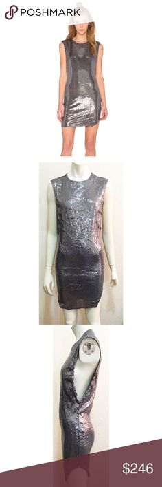 """NWT Indah XS Tallow Sequined Dress in Ash Brand new with tags Tallow Sequined dress by Indah. Size is XS. Color is Ash, which is a silver gray. Asymmetrical hem, side seam slit. Does have a few sequins here and there missing, and one loose thread as shown in photos. Length is approximately 32"""". Indah Dresses Asymmetrical"""