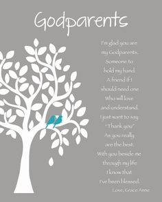 GODPARENTS personalized gift - 8x10 Print - Custom Gift for Godparents on Baptism or Communion day - Gift from Godchild - Other colors