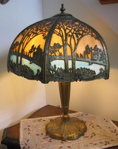 """Early 20thC slag glass lamp glass shade. Lamp is 25""""T, shade diameter 20"""". Base,metal parts appear to be brass or bronze. Unionville, CT auction ending 9/8/13"""
