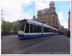 Blue tram Amsterdam