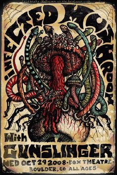 Original concert poster for Infected Mushroom at the Fox Theatre in Boulder, Colorado. 11x17 card stock. Art by Darren Grealish.