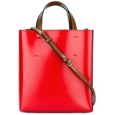 Marni small Museo tote ($880) ❤ liked on Polyvore featuring bags, handbags, tote bags, brown, red tote bag, pattern tote bag, color block tote, red pouch and drawstring pouch